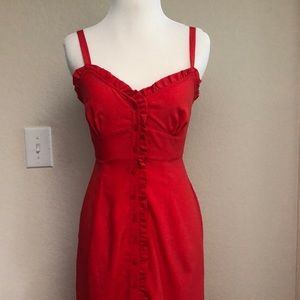 Topshop Midi Red Ruffle Button-up Dress